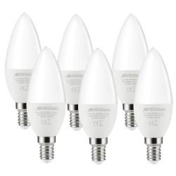BOMBILLA LED Vela E14, 6W, 3000k luz cálida