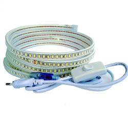 Tira Led 120 Led/m con INTERRUPTOR. IMPERMEABLE Blanco Cálido Waterproof